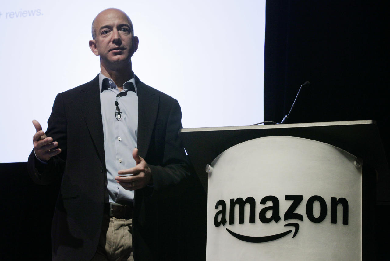 FILE - In this file photo made May 25, 2010, Amazon.com Inc. CEO and founder Jeff Bezos speaks during the company's shareholders meeting in Seattle. An undersea expedition spearheaded by Bezos used sonar to find what he said were the F-1 engines that helped boost the Apollo 11 mission to the moon located 14,000 feet deep in the Atlantic. In an online announcement Wednesday, March 28, 2012, the Amazon.com CEO and founder said he is drawing up plans to recover the sunken engines, part of the mighty Saturn V rocket that launched Neil Armstrong, Buzz Aldrin and Michael Collins on their moon mission. (AP Photo/Ted S. Warren, File)