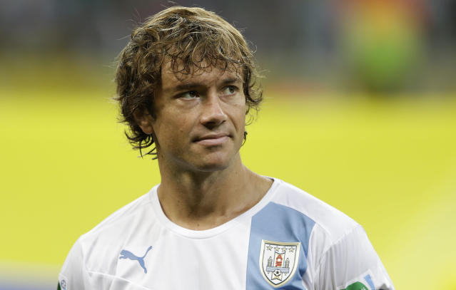 Uruguay's Diego Lugano before a soccer Confederations Cup group B match between Nigeria and Uruguay at Fonte Nova stadium in Salvador, Brazil, Thursday, June 20, 2013. (AP Photo/Natacha Pisarenko)