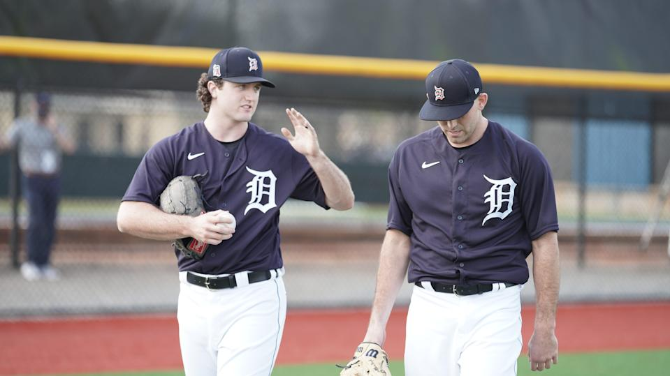 Detroit Tigers pitchers Casey Mize (left) and Matthew Boyd walk the field at spring training Feb. 18, 2021, in Lakeland, Florida.
