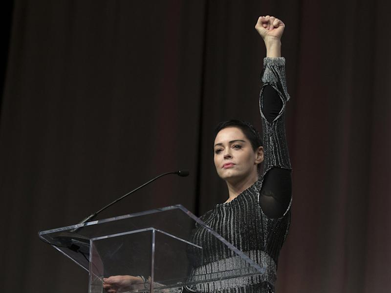 Rose McGowan addresses the Women's March/Women's Convention in Detroit, Michigan, in October: AFP/Getty