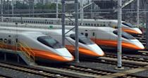 The <b>THSR 700T</b> is high-speed electric multiple unit trainset derived from the Japanese Shinkansen family for Taiwan High Speed Rail (THSR), Taiwan's high-speed rail line. It runs at 335.50 km/h or 208 mph. (AFP Images)