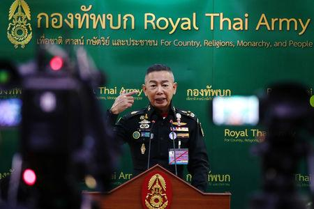 Thailand's Royal Army Chief General Apirat Kongsompong gestures during a news conference at the Thai Army headquarters in Bangkok, Thailand, October 17, 2018. REUTERS/Athit Perawongmetha