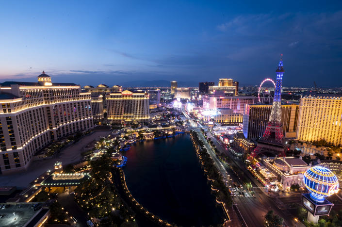 """The Las Vegas Strip on Aug. 23, 2020. The coronavirus pandemic has devastated tourism in the city, leaving laid-off workers like Jorge Padilla struggling to get by and hoping their former employers give them their jobs back. <span class=""""copyright"""">Bill Clark—CQ/Roll Call, Inc/Getty Images</span>"""