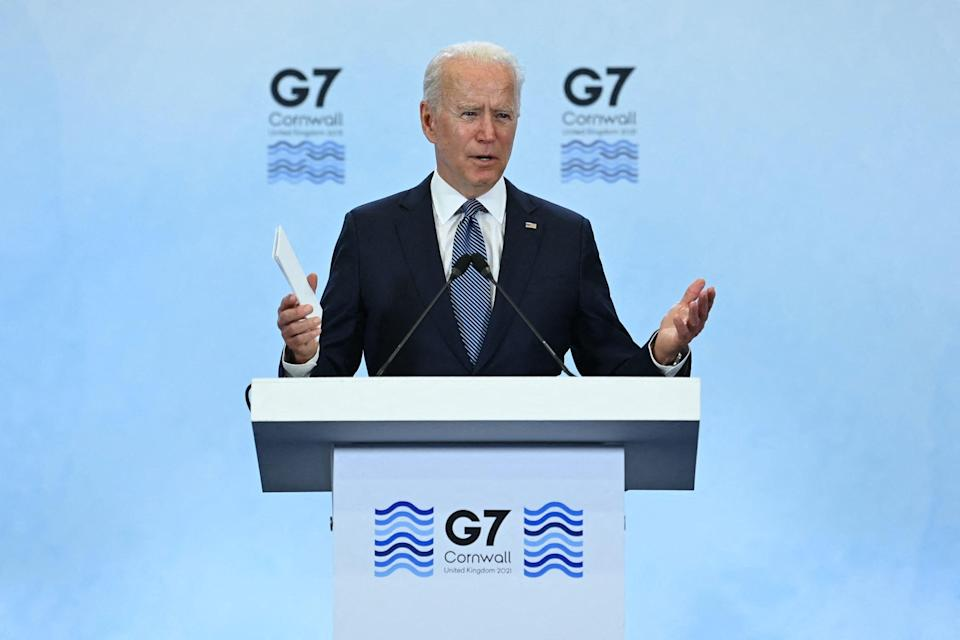 US President Joe Biden takes part in a press conference on the final day of the G7 summit at Cornwall Airport Newquay, near Newquay, Cornwall on June 13, 2021.