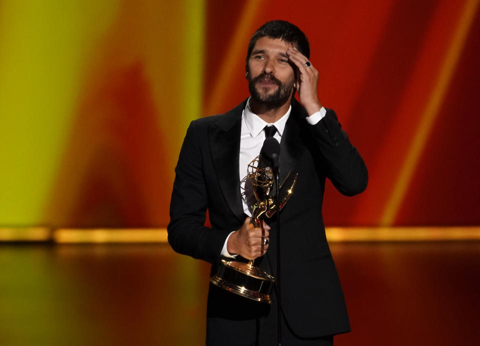"""71st Primetime Emmy Awards - Show - Los Angeles, California, U.S., September 22, 2019. Ben Whishaw accepts the award for Outstanding Supporting Actor in a Limited Series or Movie for A Very English Scandal."""" REUTERS/Mike Blake"""