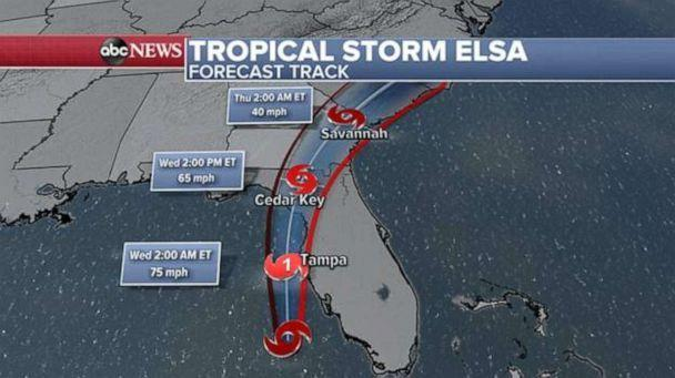 PHOTO: Elsa is forecast to continue to strengthen into a Category 1 hurricane and make landfall in the Big Bend area, near Cedar Key, Fla., on Wednesday morning around 8 to 10 a.m. (ABC News)