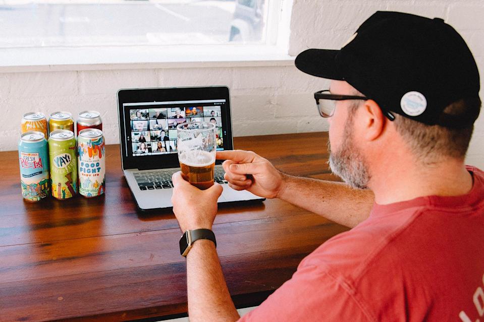 """<p>Missing your favorite neighborhood bar and trying out local brews? <a href=""""https://www.commonspace.la/virtual-events"""" rel=""""nofollow noopener"""" target=""""_blank"""" data-ylk=""""slk:Common Space Brewery"""" class=""""link rapid-noclick-resp"""">Common Space Brewery</a> has got you covered. For a minimum of six people, they'll send you and your friends a variety of craft beers. You'll then all gather virtually and be joined by a beer expert who will explain the ins and outs of how beer is made, what to look for when trying beers, and more. Cheers!</p> <p><strong>$120 and up, <a href=""""https://www.commonspace.la/virtual-events"""" rel=""""nofollow noopener"""" target=""""_blank"""" data-ylk=""""slk:commonspace.la"""" class=""""link rapid-noclick-resp"""">commonspace.la</a></strong></p>"""