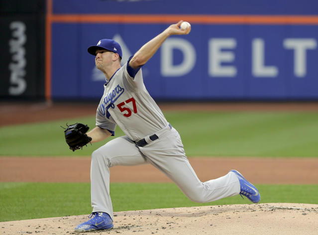 Los Angeles Dodgers pitcher Alex Wood delivers against the New York Mets during the first inning of a baseball game, Friday, June 22, 2018, in New York. (AP Photo/Julie Jacobson)