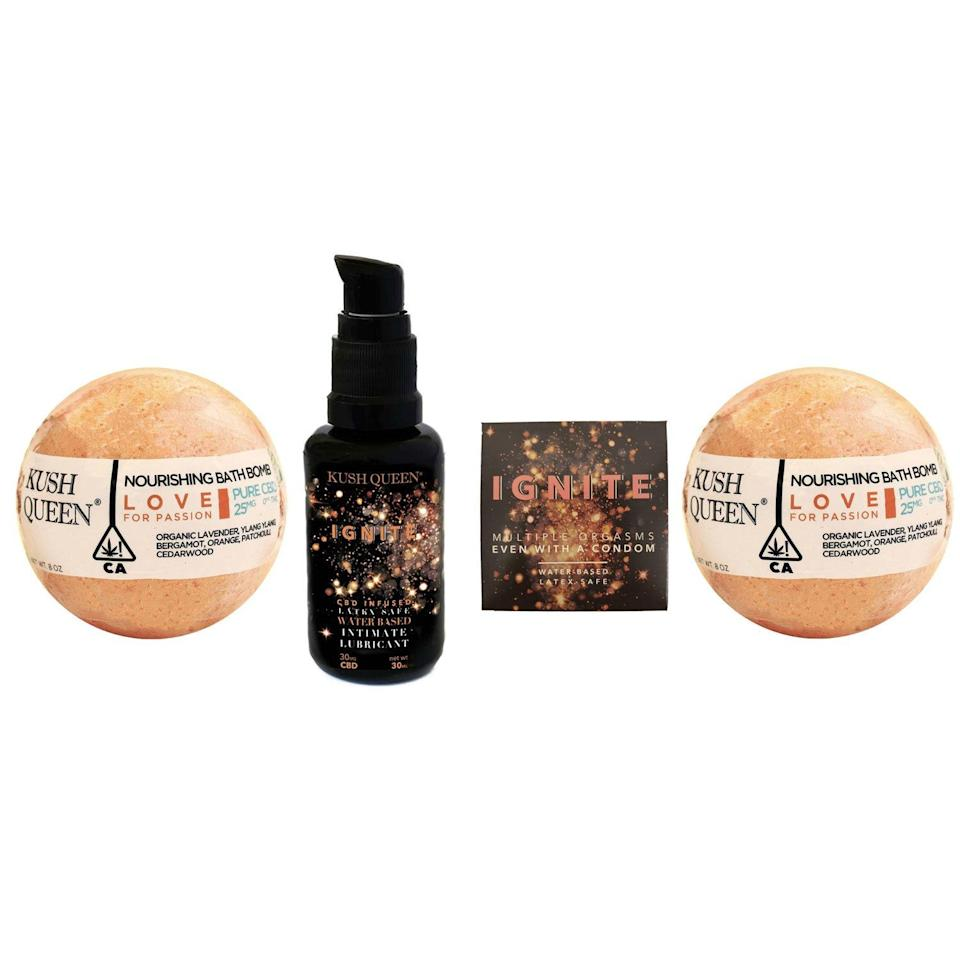 <p>Perfect for Valentine's Day or an anniversary gift, the Kush Queen Love Collection pairs the company's Love Bath Bomb with their CBD-infused Ignite Lubricant. It's $69.69 (cheeky!) at KushQueen.Shop.</p>
