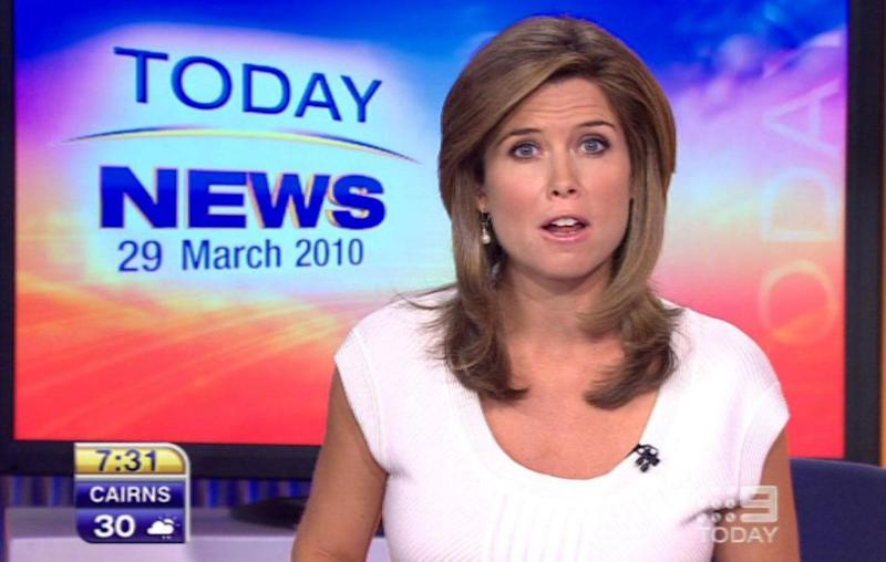Amber wearing white during a Nine news bulletin in 2010. Source: Nine