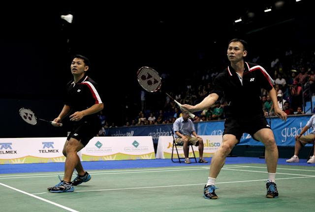 GUADALAJARA, MEXICO - OCTOBER 18: Howard Bach (L) and Tony Gunawan of the USA in action during the Men's doubles Badminton Semi Final match during XVI Pan American Games Day Four at the Revolucion Gym on October 18, 2011 in Guadalajara, Mexico. (Photo by Scott Heavey/Getty Images)