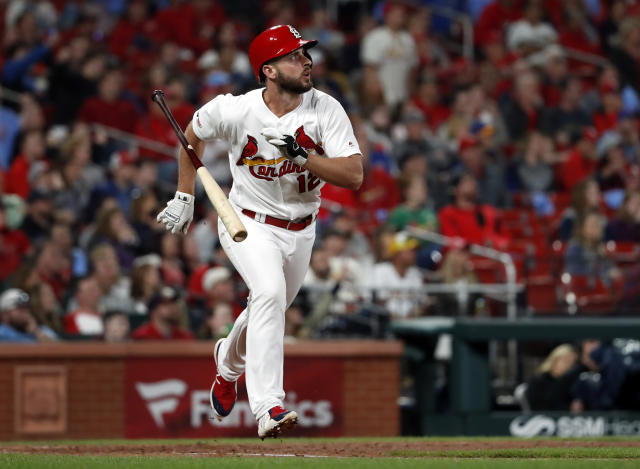 St. Louis Cardinals' Paul DeJong tosses aside his bat while watching his solo home run during the eighth inning of a baseball game against the Milwaukee Brewers Tuesday, April 23, 2019, in St. Louis. (AP Photo/Jeff Roberson)
