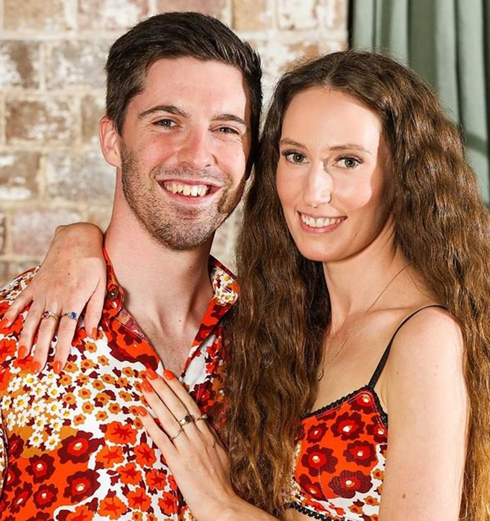 Married At First Sight 2021 couple Patrick Dwyer and Belinda Vickers dressed in matching floral outfits at a dinner party