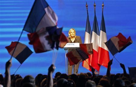 Marine Le Pen, France's National Front political party leader, delivers a speech in Marseille