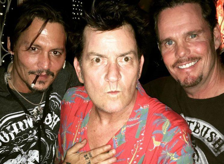 Platoon… reunion of Depp, Sheen and Dillon to celebrate 30 years since the release of the classic Vietnam movie – Credit: Instagram
