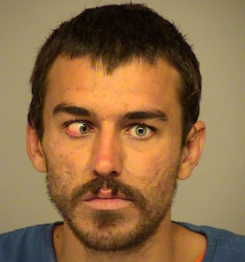 A mugshot of California homeless man Dylan McTaggert who was arrested and charged over allegedly kicking a small dog.