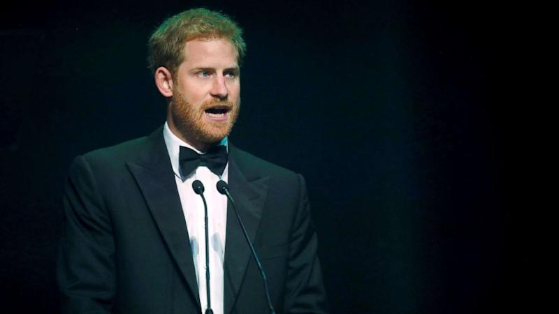 Prince Harry accepts posthumous award on behalf of Princess Diana's HIV and AIDS activism work