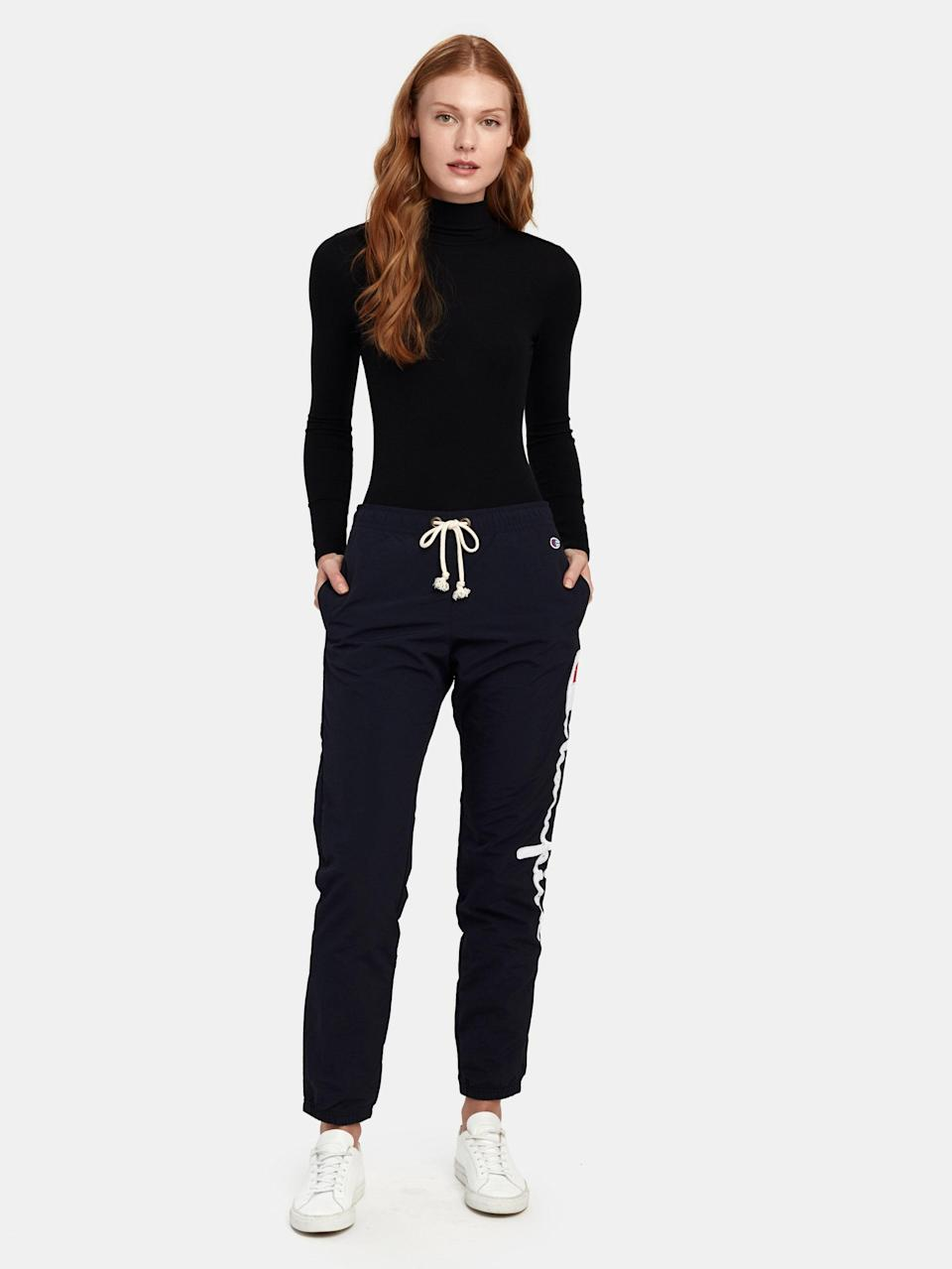 """Add these classic, relaxed sweats to your daily lineup, and take cues from the styling above if you've got a Zoom meeting or a socially distant hang on your agenda. $42, Verishop. <a href=""""https://www.verishop.com/champion-reverse-weave/pants/elastic-cuff-sweatpants/p1833287876643?color=navy"""" rel=""""nofollow noopener"""" target=""""_blank"""" data-ylk=""""slk:Get it now!"""" class=""""link rapid-noclick-resp"""">Get it now!</a>"""