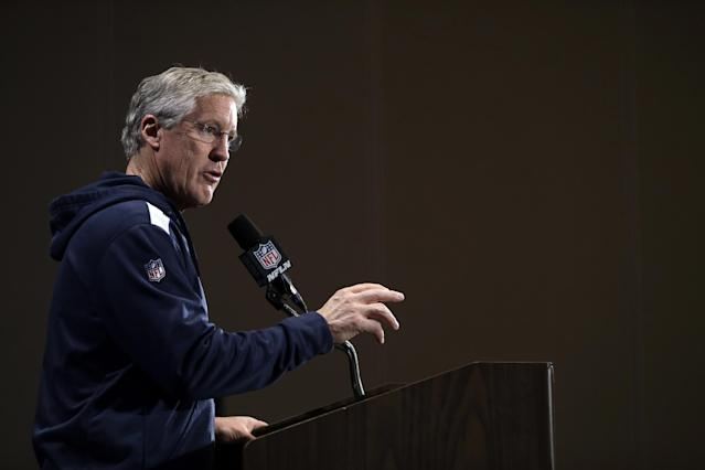 Seattle Seahawks head coach Pete Carroll speaks during a news conference Monday, Jan. 27, 2014, in Jersey City, N.J. The Seahawks and the Denver Broncos are scheduled to play in the Super Bowl XLVIII football game Sunday, Feb. 2, 2014. (AP Photo/Jeff Roberson)