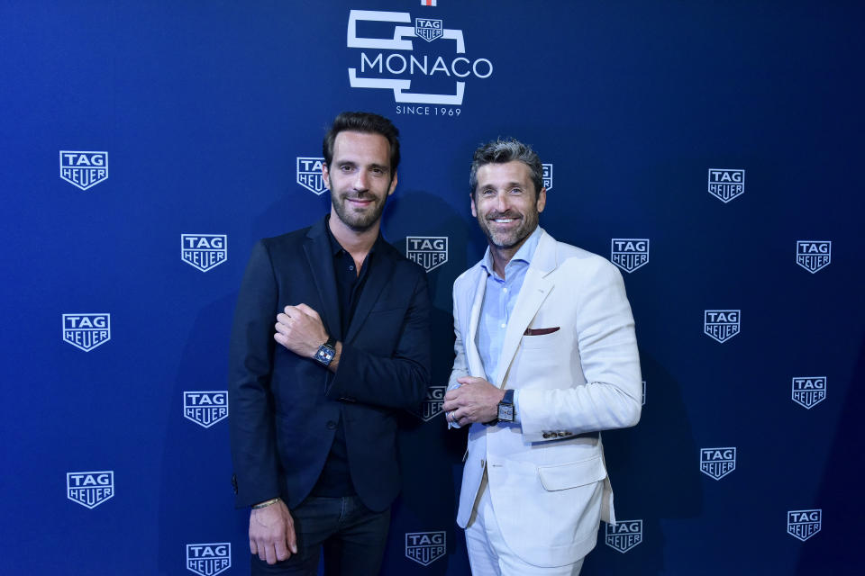 NEW YORK, NEW YORK - JULY 10: Jean-Eric Vergne and Patrick Dempsey attend a TAG Heuer celebration of  50 years of the iconic Monaco Timepiece with brand ambassador Patrick Dempsey on July 10, 2019 in New York City. (Photo by Eugene Gologursky/Getty Images for TAG Heuer)