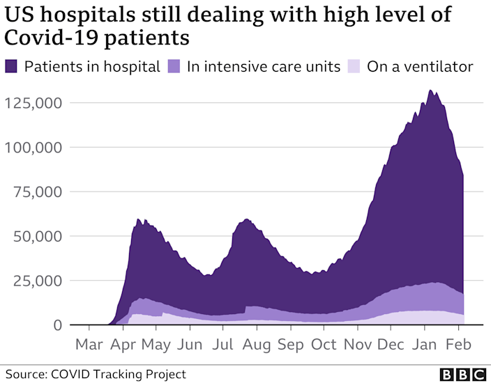 Chart showing the number of Covid-19 patients in hospitals in the US remains very high