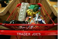 """<p>While we all hate waiting in line at Trader Joe's, the convenience of Trader Joe's products don't outweigh the pricey upcharge on Amazon. For example, a 2.3 oz jar of Everything but the Bagel Sesame Seasoning blend sells for <a href=""""https://www.amazon.com/Trader-Joes-Everything-Sesame-Seasoning/dp/B06W9N8X9H/ref=asc_df_B06W9N8X9H/?tag=hyprod-20&linkCode=df0&hvadid=312087953268&hvpos=&hvnetw=g&hvrand=17387109222197054296&hvpone=&hvptwo=&hvqmt=&hvdev=c&hvdvcmdl=&hvlocint=&hvlocphy=9003432&hvtargid=pla-521192655750&psc=1"""" rel=""""nofollow noopener"""" target=""""_blank"""" data-ylk=""""slk:$6.99 on Amazon"""" class=""""link rapid-noclick-resp"""">$6.99 on Amazon</a> while it is <a href=""""https://www.traderjoes.com/FearlessFlyer/Article/5768"""" rel=""""nofollow noopener"""" target=""""_blank"""" data-ylk=""""slk:sold in-store for $1.99"""" class=""""link rapid-noclick-resp"""">sold in-store for $1.99</a>.</p>"""