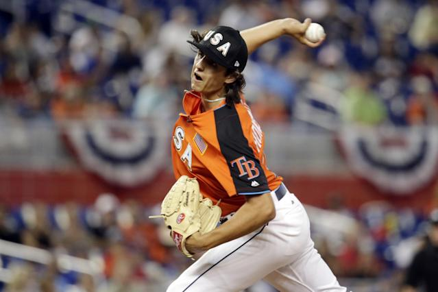Tampa Bay Rays and the U.S. Team pitcher Brent Honeywell throws during the first inning of the All-Star Futures baseball game against the World Team, Sunday, July 9, 2017, in Miami. (AP Photo/Lynne Sladky)