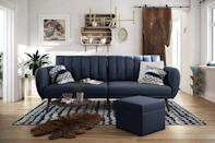 <p>This <span>Novogratz Brittany Sofa Futon</span> ($299) is great if you need a place for guests to sleep.</p>