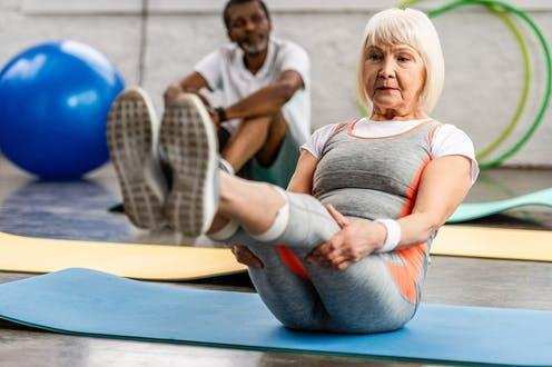 """<span class=""""caption"""">Exercise is shown to have an anti-inflammatory effect.</span> <span class=""""attribution""""><a class=""""link rapid-noclick-resp"""" href=""""https://www.shutterstock.com/image-photo/senior-woman-her-husband-exercising-on-1272144688"""" rel=""""nofollow noopener"""" target=""""_blank"""" data-ylk=""""slk:LightField Studios/ Shutterstock"""">LightField Studios/ Shutterstock</a></span>"""