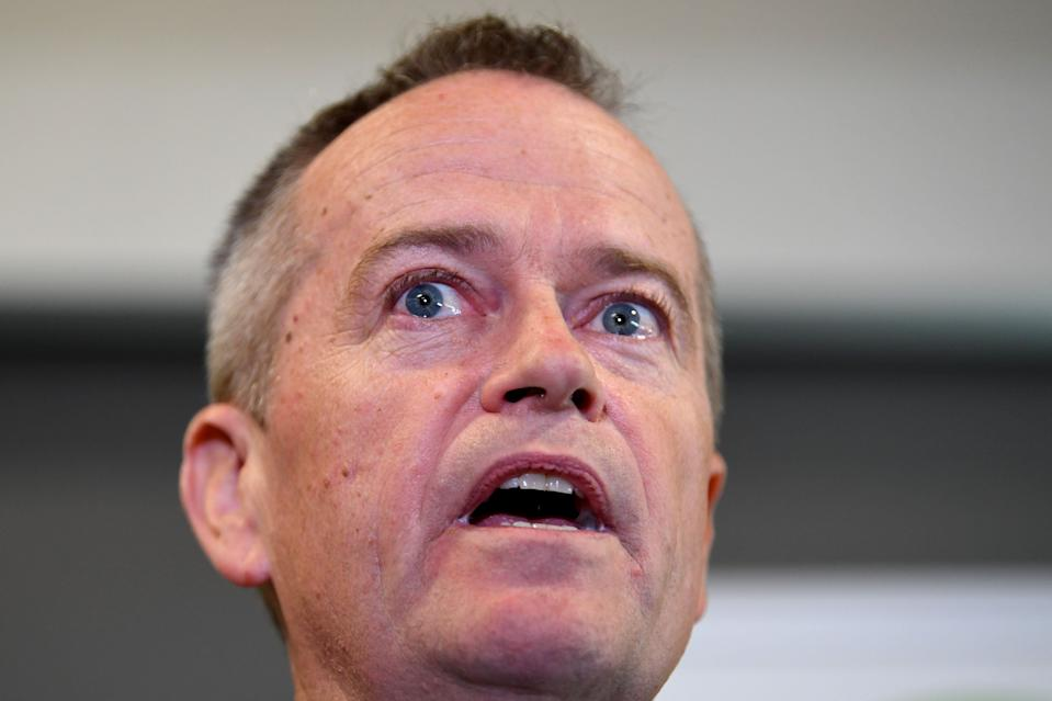 Opposition Leader Bill Shorten speaks to the media about his late mother during a visit to Grand Pacific Health in Nowra, Wednesday, May 8, 2019. A Federal election will be held in Australian on Saturday May 18, 2019. (AAP Image/Lukas Coch) NO ARCHIVING