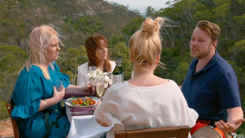 Dee, Donna, Denton and Danni share breakfast on a cliff's edge on Bride and Prejudice