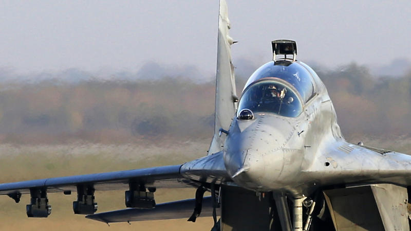 In this photo taken Tuesday, Oct. 17, 2017 Serbian Army MiG-29 jet fighter prepares for flight at the military airport Batajnica near Belgrade, Serbia. Serbia's Defense Minister Aleksandar Vulin said Monday June 24, 2019 that live-ammunition drills being held with Russian and Belarusian troops show that Serbia has allies in any future war in the Balkans. (AP Photo/Darko Vojinovic)
