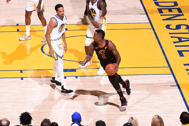 e1c2bf95e93 J.R. Smith's costly mistake cost the Cavs in a big way in Game 1 of the NBA  Finals. (Photo by Noah Graham/NBAE via Getty Images)