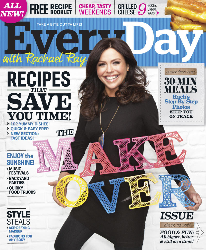 """This magazine cover image courtesy of  """"Every Day with Rachael Ray"""" shows the cover of the May 2011 issue of the magazine. Food magazines are getting spicier. Two of the larger-circulation food titles, """"Every Day with Rachael Ray"""" and """"Bon Appetit,"""" were made over this month with an emphasis on splashier presentations. (AP Photo/Every Day with Rachael Ray )"""