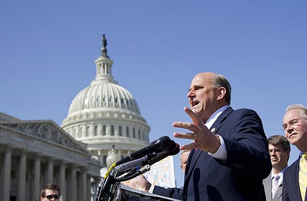 Rep. Louie Gohmert of Texas, joined by fellow House Republicans, gestures during a news conference
