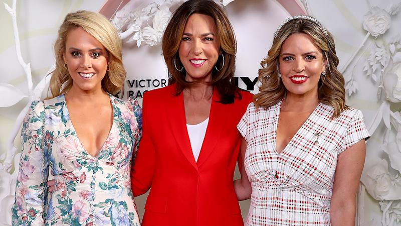 Candice Wyatt, Jennifer Keyte and Caty Price, pictured here at the Myer Spring Fashion Lunch at Flemington Racecourse in September.