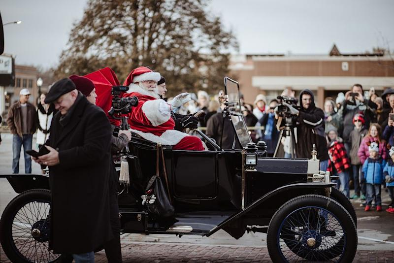 Santa Claus arrives in his Ford Model T | Erin Roh Photography