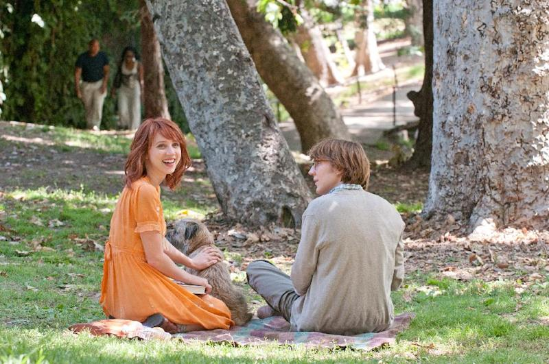 """This undated film image released by Fox Searchlight Pictures shows Zoe Kazan, left, and Paul Dano in a scene from """"Ruby Sparks."""" (AP Photo/Fox Searchlight Films, Merrick Morton)"""