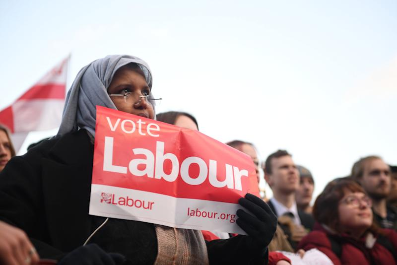 Labour Party supporters listen as leader Jeremy Corbyn speaks at a rally in Bristol while on the general election campaign trail. (Photo: Joe Giddens - PA Images via Getty Images)