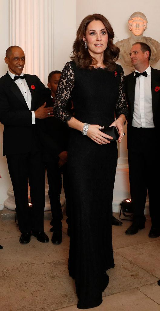 <p>The Duchess of Cambridge donned one of her favourite looks for a gala dinner at Kensington Palace. For the event, which raised awareness for the Anna Freud National Centre for Children and Families, Kate recycled a Diane Von Furstenberg maternity gown. She first donned the dress back in 2014 while pregnant with Princess Charlotte. <em>[Photo: Getty]</em> </p>