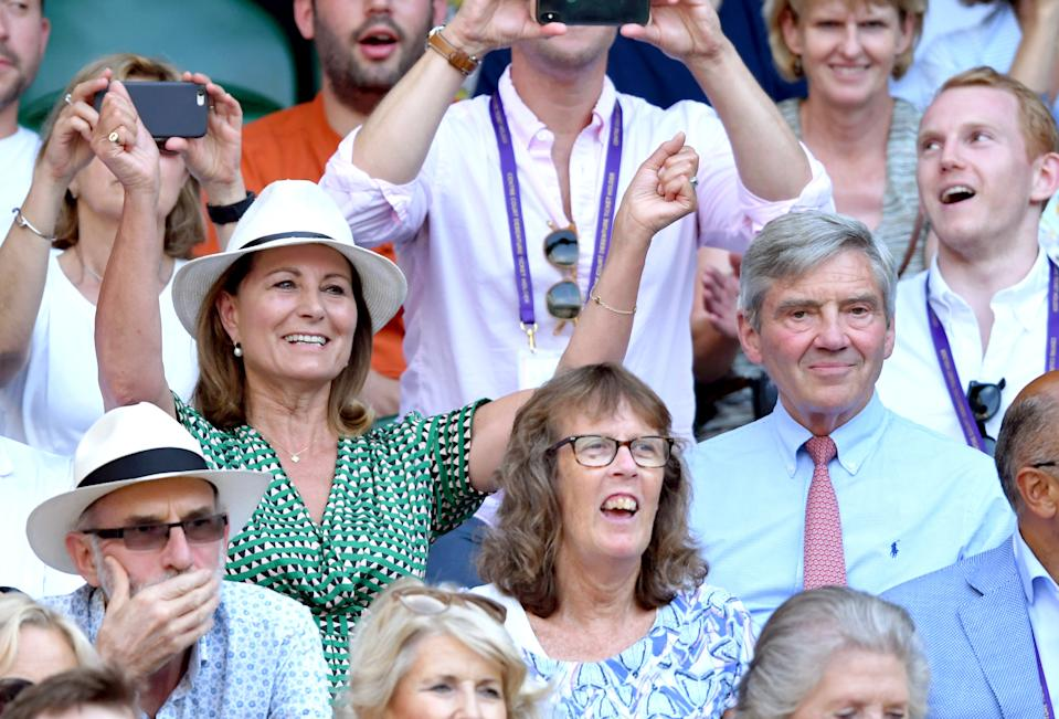 LONDON, ENGLAND - JULY 10: Carole Middleton and Michael Middleton attend day nine of the Wimbledon Tennis Championships at All England Lawn Tennis and Croquet Club on July 10, 2019 in London, England. (Photo by Karwai Tang/Getty Images)