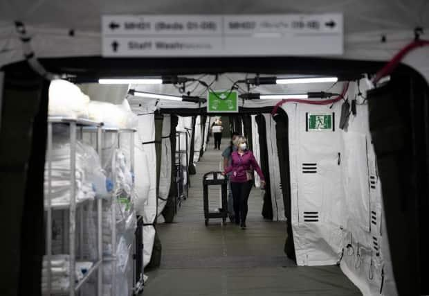 A view of the inside of the mobile health unit at Sunnybrook Health Sciences Centre in Toronto on April 19, 2021.