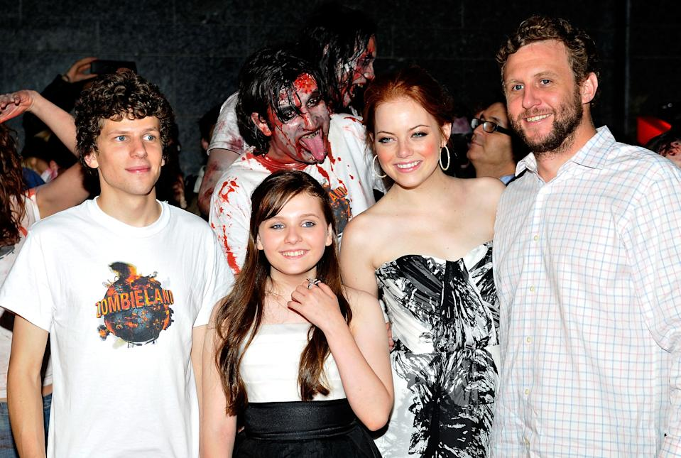 BARCELONA, SPAIN - OCTOBER 10:   (L-R) Jesse Eisenberg, Abigail Breslin, Emma Stone, and Ruben Fleischer attend the European Premiere for 'Zombieland' at the 42nd Sitges Film Festival on October 10, 2009 in Barcelona, Spain.  (Photo by Robert Marquardt/WireImage)