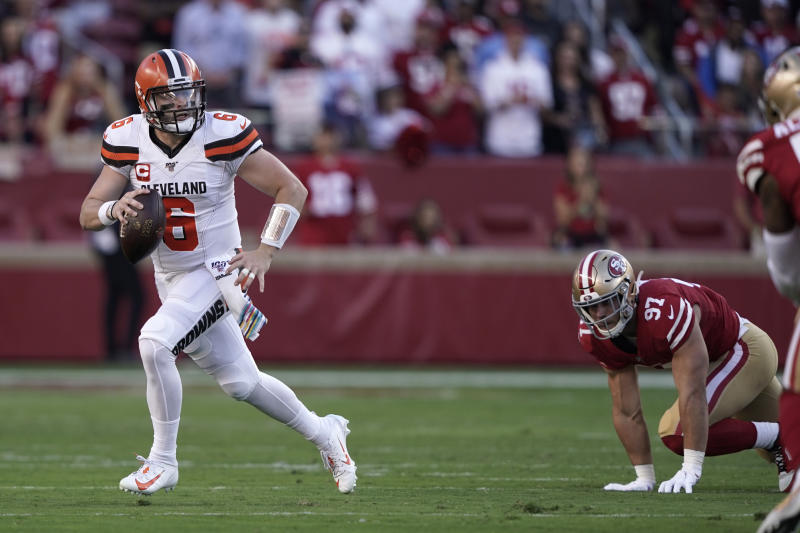 Oct 7, 2019; Santa Clara, CA, USA; Cleveland Browns quarterback Baker Mayfield (6) rolls out to throw a pass against the San Francisco 49ers in the first quarter at Levi's Stadium. Mandatory Credit: Cary Edmondson-USA TODAY Sports