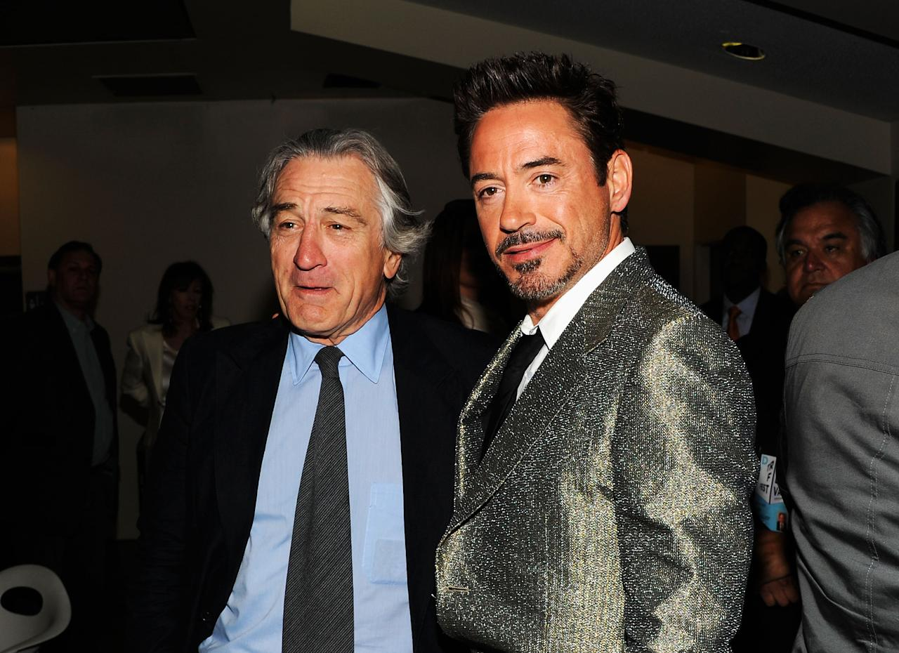"NEW YORK, NY - APRIL 28:  Tribeca Film Festival Co-founder Robert De Niro and actor Robert Downey Jr. attend the ""Marvel's The Avengers"" Premiere during the 2012 Tribeca Film Festival at the Borough of Manhattan Community  College on April 28, 2012 in New York City.  (Photo by Jason Kempin/Getty Images for Tribeca Film Festival)"