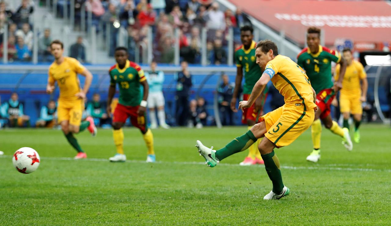 Soccer Football - Cameroon v Australia - FIFA Confederations Cup Russia 2017 - Group B - Saint Petersburg Stadium, St. Petersburg, Russia - June 22, 2017   Australia's Mark Milligan scores their first goal from the penalty spot    REUTERS/Carl Recine