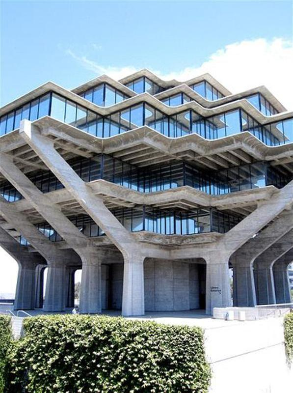 <b>5. Geisel Library; University of California, San Diego, CA</b> This library is one of the best examples of Brutalist architecture ever built, and that's not a compliment. Named after Audrey and Theodor Geisel (better known as Dr. Seuss), we think it would have been a whole lot prettier had its benefactor also been its architect.