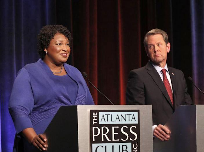 Contenders for the Georgia governorship in a recent debate: Democratic candidate Stacey Abrams and her Republican opponent, Secretary of State Brian Kemp. (Photo: John Bazemore/Pool/AP)