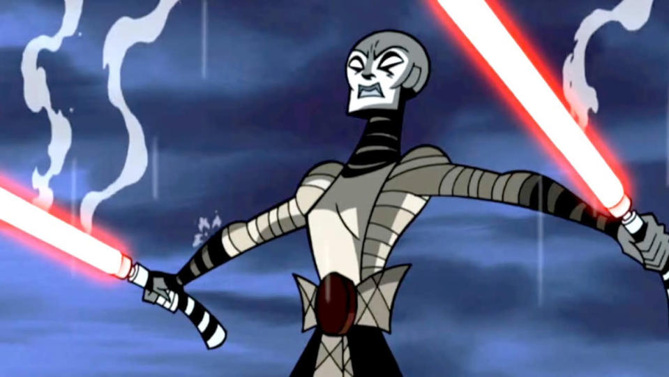 Animated Ventress holding lightsabers in Clone Wars