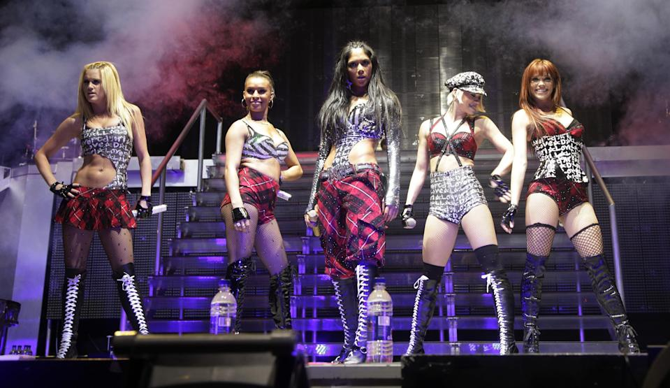 NO MERCHANDISING / UK SALES ONLY. The Pussycat Dolls perform on stage at the O2 Arena in London.